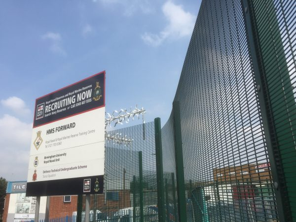 Double mesh fencing providing security for a Royal Navy Unit. Commercial fencing provides appropriate security.