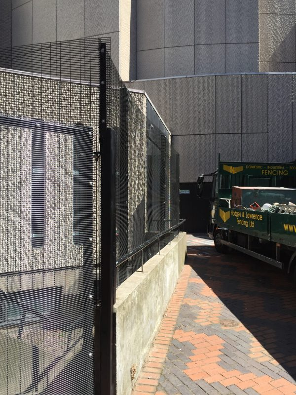 Black double mesh fencing assembled in Birmingham. This commercial fencing provides a perfect security solution.
