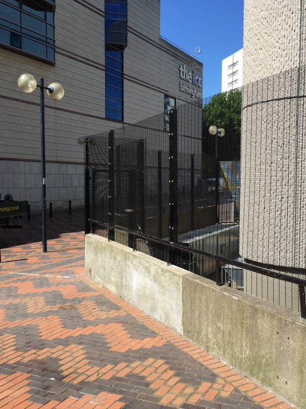 Black commercial fencing, this double mesh fencing provides security and protection for most properties.