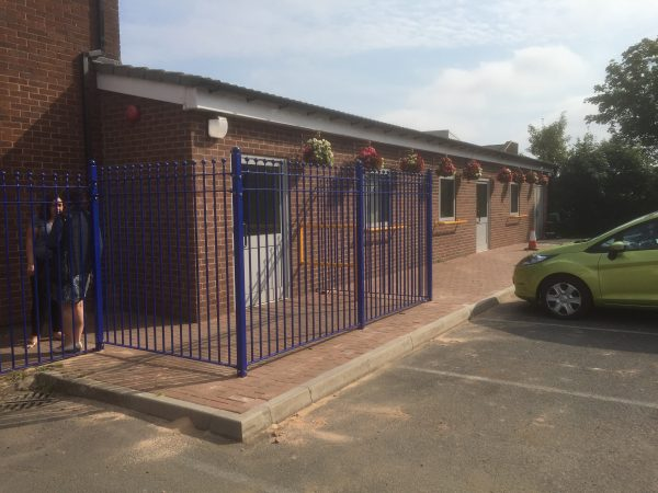 Bespoke railings around a commercial building. The bespoke railings offer security whilst also looking aesthetically pleasing