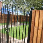 Black vertical bar steel gates. Securing a garden or fencing suppliers in Birmingham.