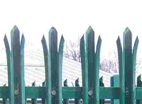 Green steel palisade fencing.