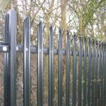 Steel palisade fencing. This black commercial fencing provides the highest quality security.