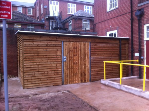 A commercial shed in a schoolyard in Birmingham.