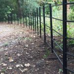 Black bespoke railings alongside a public walkway in a rural area.
