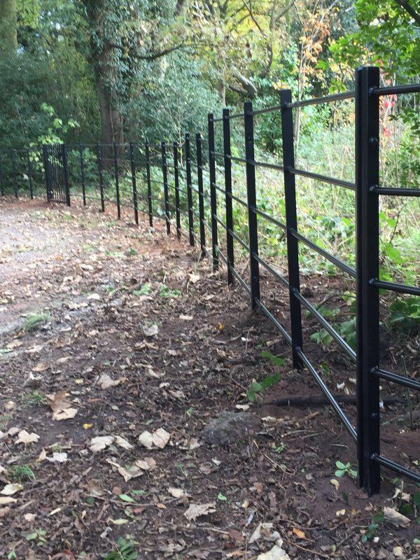 Black bespoke railings alongside a public walkway in a rural area.