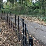 Black bespoke railings. The bespoke railings provide security for private areas.