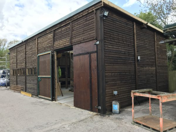 Bespoke commercial shed assembled in a industrial area.