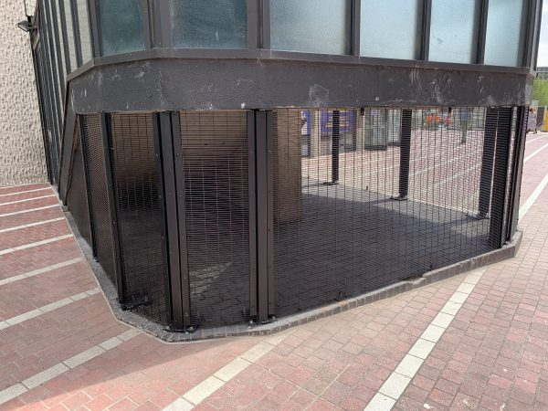 Commercial fencing used in Birmingham city centre. This black double mesh fencing is a perfect for security option.