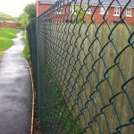 Green chain link fencing used for commercial purposes.