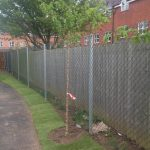 Chain link fencing used to secure a commercial property.
