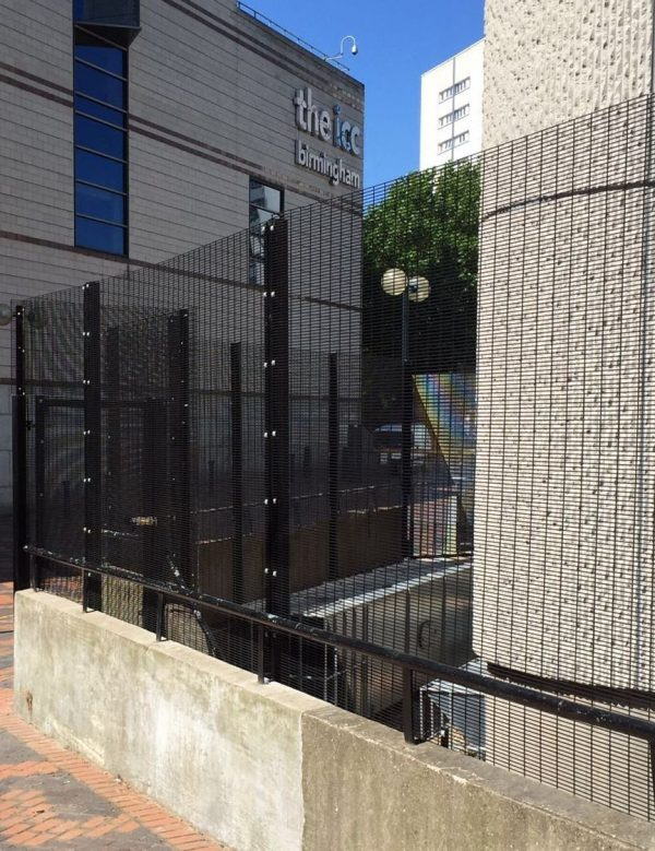 Black double mesh fencing. Commercial fencing is high quality and secure.