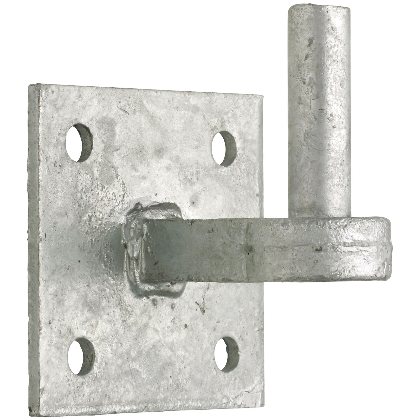 Galvanised hook on plate. 4 inches by 4 inches or 100cm by 100cm.