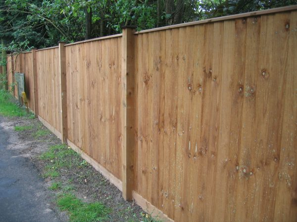 Pressure treated timber posts supporting timber fence panels. The fence is situated in a garden.