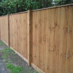 Garden wooden fence standing alongside a public walkway. The fence has feather edge boards.