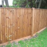 Pressure treated timber posts supporting a wooden fence in a empty garden.