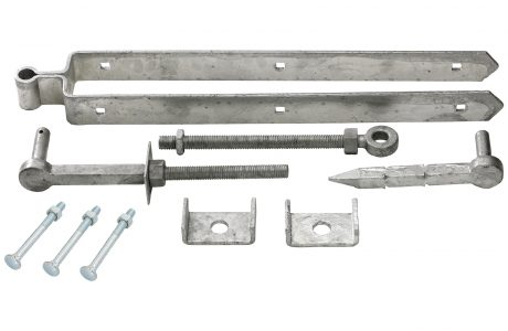 Adjustable galvanised field gate set.