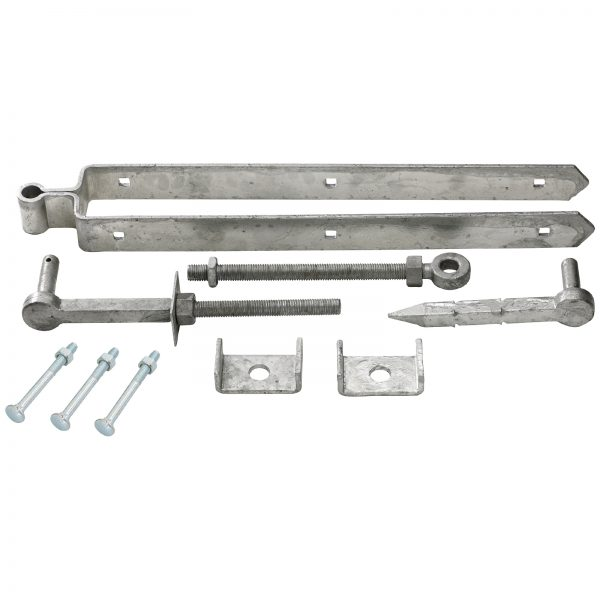 Adjustable galvanised field gate set.