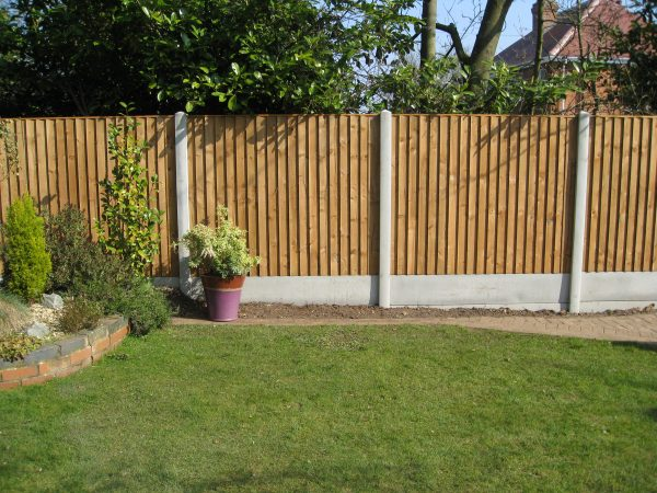 A garden with plants and flowers with a fence surrounding the perimeter. The fence has close board fence panels.