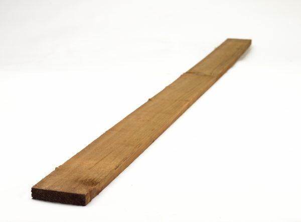 Pressure treated timber rail. The rail is a warm wood colour.