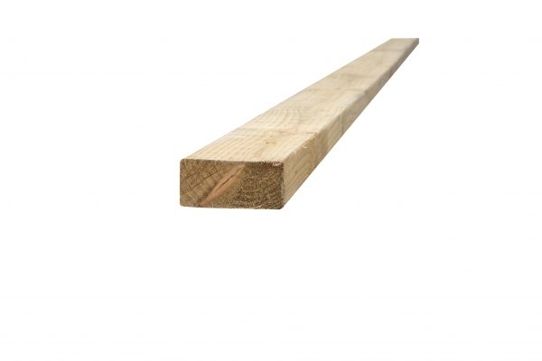 Pressure treated timber rail. The rail is light in colour and used for close board fencing.
