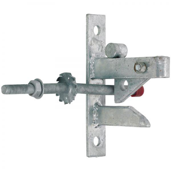 Heavy duty auto latch for a five bar field gate.