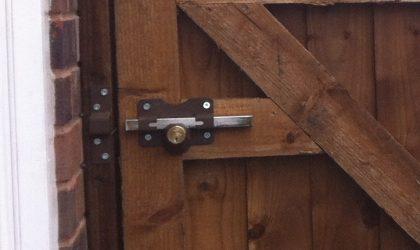 A wooden gate frame for a wooden garden gate.
