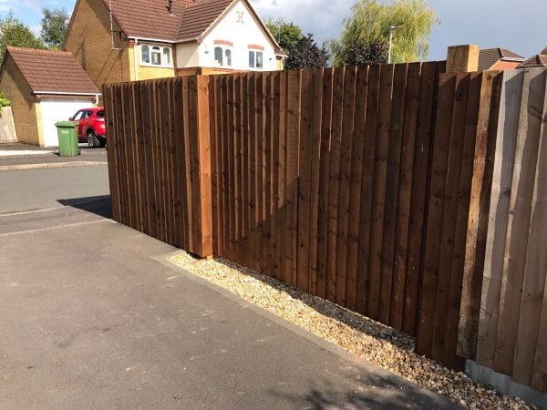 Pre-clad timber gate frame with feather edge boards.