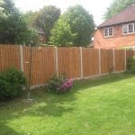 A open garden with a wooden fence. The fence has concrete posts and large plants in front.