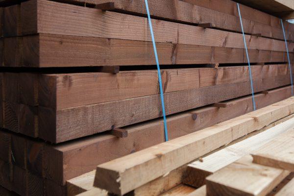 Pressure treated timber rails.