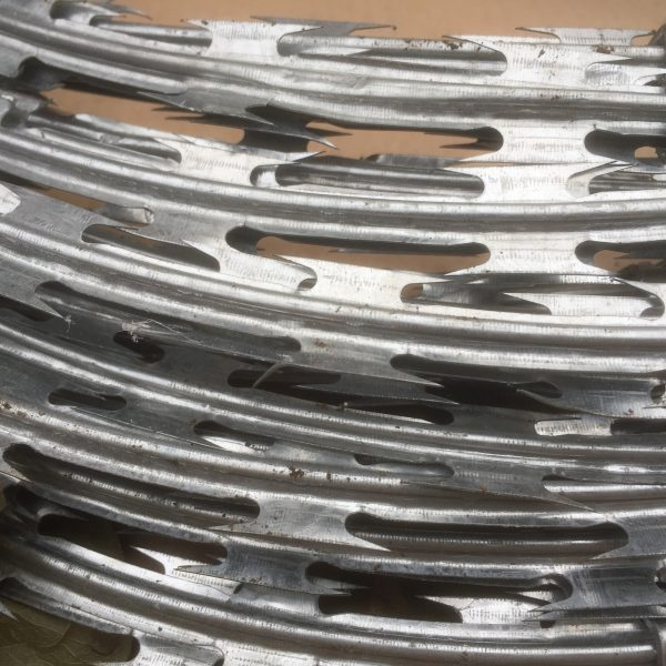 A roll of razor wire. The razor wire is a high quality security fencing product.