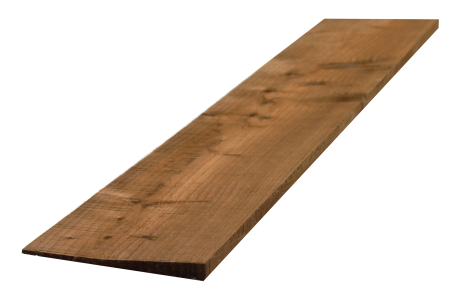 Feather edge board. Pressure treated and brown in colour.