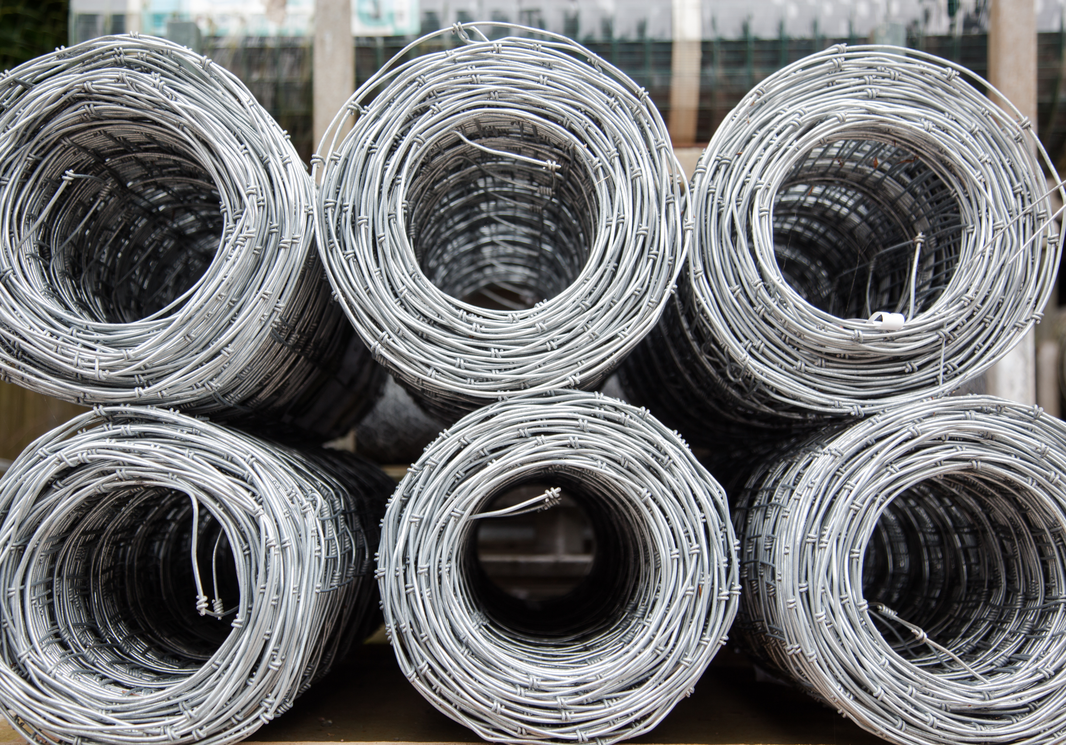 Six rolls of stock wire. The stock wire is on display at a fencing suppliers in Birmingham.