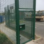 Steel commercial fencing with commercial gate both provided and installed by Hodges & Lawrence Fencing suppliers.